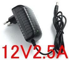 1 pçs 12v 2.5a fonte de alimentação de comutação led fonte de alimentação da lâmpada 12v 2500ma para mini carro áudio amplificador potência adaptador