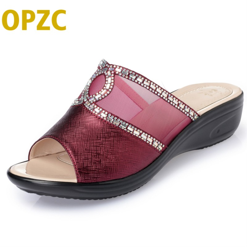 OPZC 2018 Summer Womens Rhinestones Slippers Fashion Hollow Out Heels Sandals Bling Style Flip Flops Shoes Woman Sandles