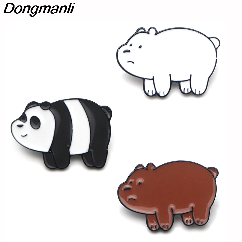 P3862 Dongmanli Fashion Cute We Bare Bears Metal Enamel Brooches and Pins Collection Lapel Pin Backpack Badge Collar Jewelry