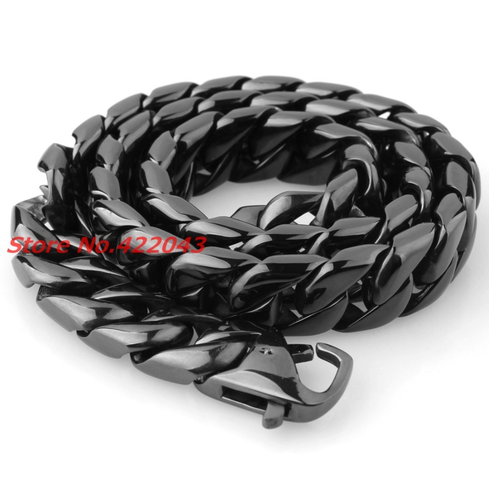 24 15 MM Heavy Cool Zwart Kleur 316L Rvs Mens Curb Cubaanse Collier, Mode sieraden Voor Mens Jongens 203g Keten - 3