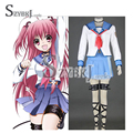 New Customized Anime Angel Beats Nakamura Yuri Cosplay School Uniform Full Set with good quality Free Shipping