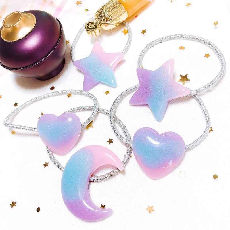 Japanese Sweet Girls Hair Rope Fancy Gradient Candy Color Ponytail Holder Heart Pentagram Star Moon Shape Student Scrunchies