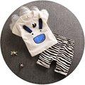2017 Nuevo Verano Del Bebé Ropa de Bebé Ropa de Algodón Camisetas + Pantalones de rayas de Cebra Infantiles Juegos de Ropa de Bebé paño