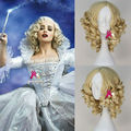 New Movie Cinderella Fairy Godmother Wig Short Curly Blonde Anime Cosplay Wig Free Shipping