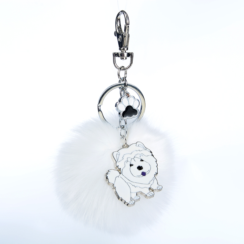 Rabbit Fur Pompom Chow Chow Key Chains For Women Men Alloy Pom Pom Ball Pet Dog Pendant  ...