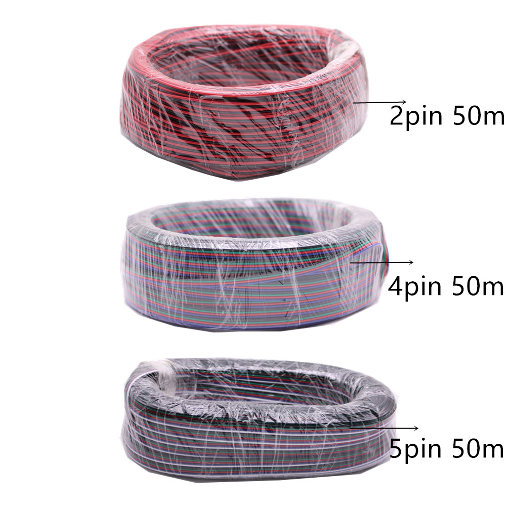 50 mt/los, 2pin 4pin 5pin Rot Schwarz kabel, Verzinnt kupfer 22AWG, PVC isolierte draht, elektronische kabel, für 5050 RGB RGBW LED streifen