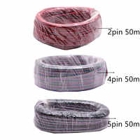 50m/lot, 2pin 4pin 5pin Red Black cable, Tinned copper 22AWG, PVC insulated wire, Electronic cable, for 5050 RGB RGBW LED strip