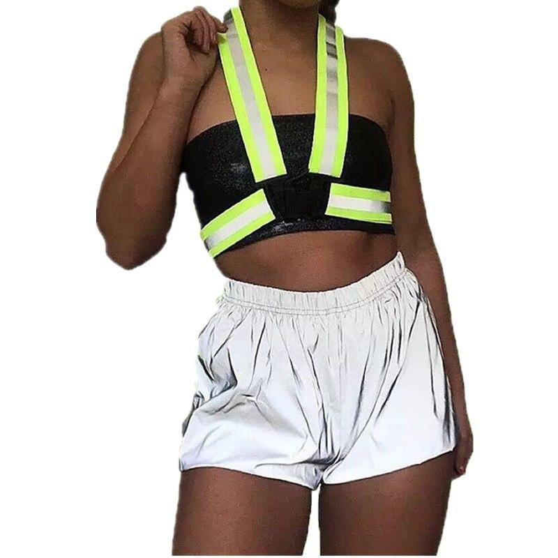 Women's Reflective Shorts Streetwear Hot Short Femme Casual Elastic Waist Bright Jogger Trousers Women Shorts