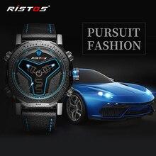 RISTOS спортивные часы с хронографом, аналоговые цифровые мужские наручные часы, многофункциональные кожаные часы, мужские светодиодный часы, Reloj Masculino Hombre 9341