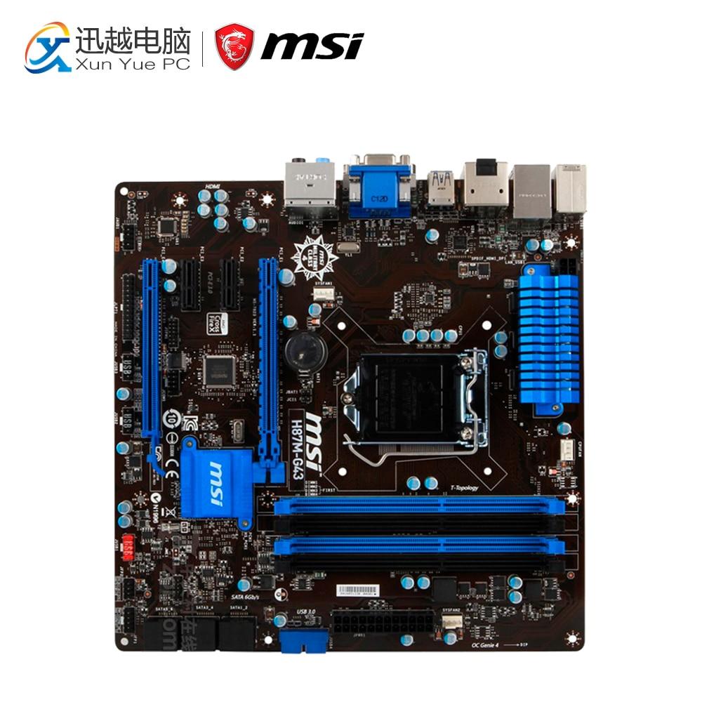 все цены на MSI H87M-G43 Desktop Motherboard H87 Socket LGA 1150 i3 i5 i7 DDR3 64G SATA3 USB3.0 Micro-ATX онлайн