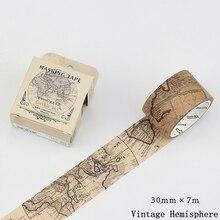 Vintage Hemisphere Map Gothic Age Decoration Scotch Washi Tape DIY Diary Planner Scrapbook Masking Decorative Adhesive Tape