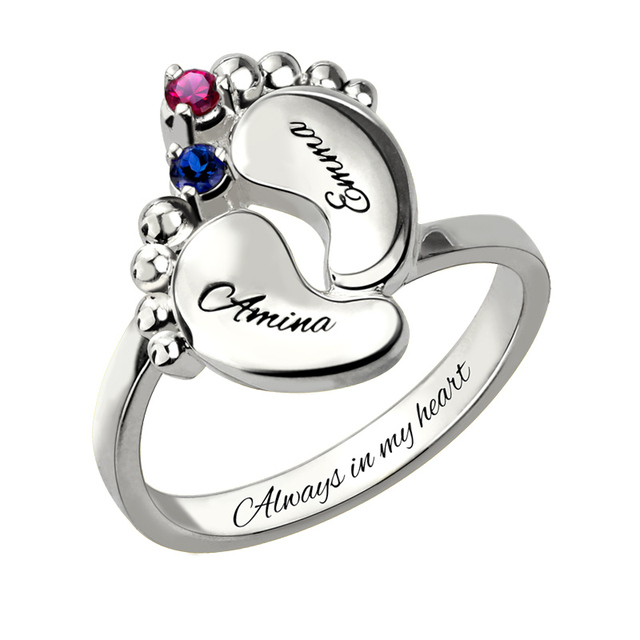 Whole Baby Feet Birthstone Ring White Gold Color Mother With Two Name Gift For