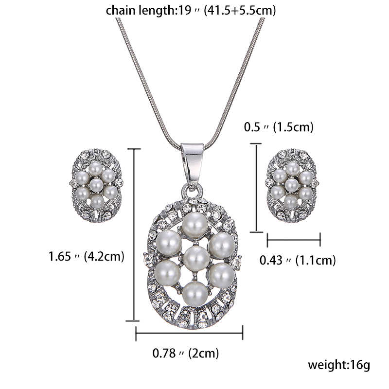 jiayijiaduo Imitation pearl pendant jewelry sets for women white color flower necklace earrings party costume gift love wedding