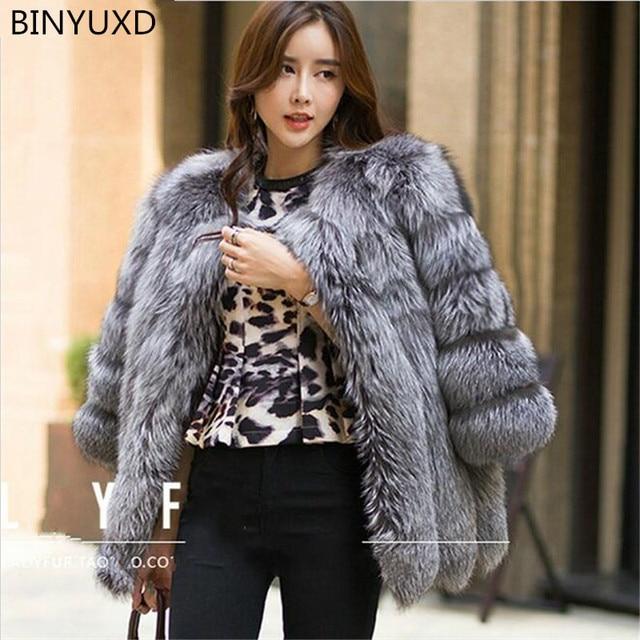 BINYUXD Hot sale New design Autumn Winter coat warm New Silver Fox Fur coat outerwear womens fashion fur coat plus size S-4XL