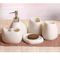 5 Pcs Set Bathroom Accessories Resin Cobblestone Design Latex Bottle Tooth Glass Soap Toothbrush Holder Home
