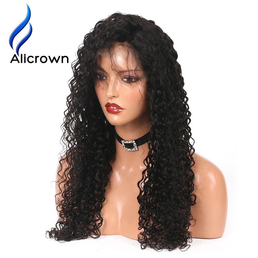 ALICROWN Curly Lace Frontal Human Hair Wigs With Baby Hair 13 4 Lace Front Wigs Bleached