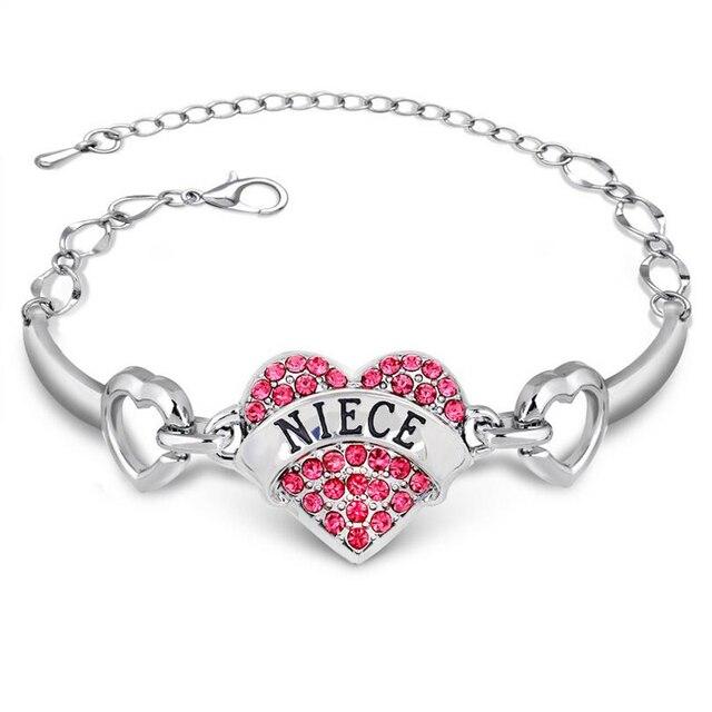 Niece Diy Letters Bracelets S For Family Relative Gift Bracelet Female Crystal Rhinestone Heart Charm