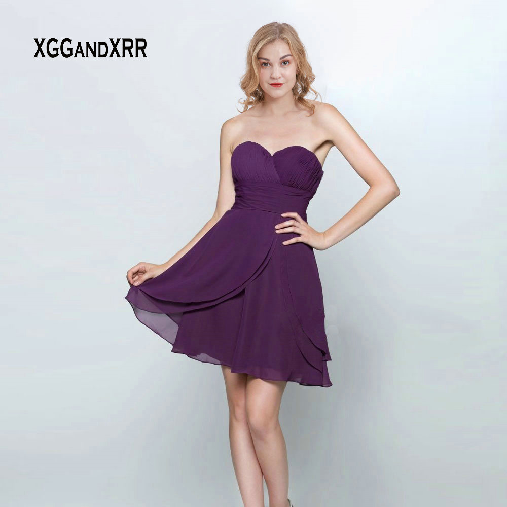 New Arrival Sweetheart Short Chiffon   Bridesmaid     Dresses   2019 Sexy Backless Purple Mini Party Girl   Dresses   with Pleats