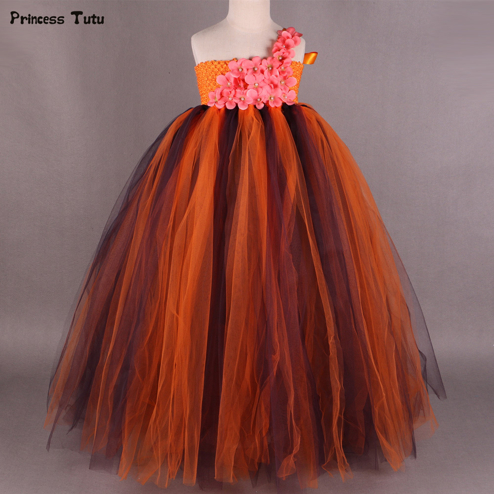 Orange+Purple Children Girls Tutu Dress Princess Flower Girls Tulle Dress Party Pumpkin Halloween Costume for Girl Kids 1-14Year cute girls purple long tutus dress kids handmade fluffy tulle princess dress with flower satin bow children party tutus 1pcs
