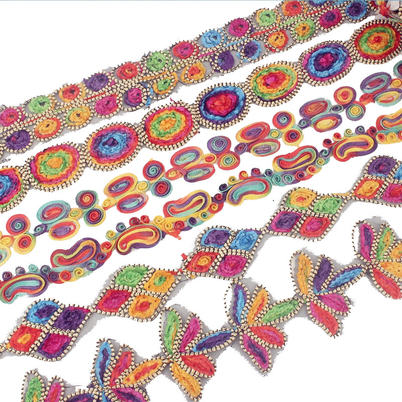 2018 New Design 3 Yard Lace Fabric High Quality Lace Ribbons Swiss Colorful Weaving Sewing Lace Trim For DIY Clothing Accessory