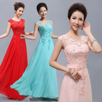 Cheap Long Lace Red Light Pink Ice Blue Yellow Blush Bridesmaid Dress 2015 Prom Party Dress