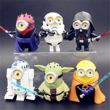 10cm 6pcs/lot Q Style Star War Minions Cosplay Darth Vader & STORM & Yoda TROOPER Action Figure Model Toy A052