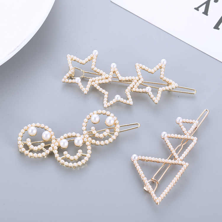 Korean Fashion Sweet Cute Hollow Imitation Pearl Five-pointed Star Triangle Smiley Hairpin Simple Hair Accessories For Women
