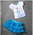 Elsa Costume Girls Clothing Sets Tutu Skirt +T Shirt Princess Ice Snow Queen Clothes La reine des neiges For 2 4 6 8 10 12 Years