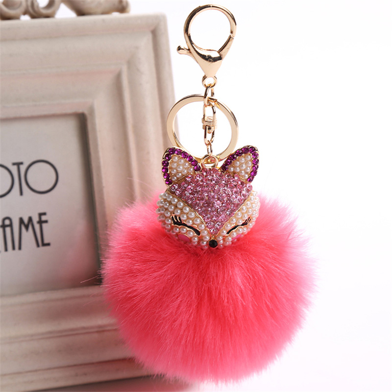 2017 New Artificial Rabbit Fur Ball Keychain Rhinestone Crystal Fox Head Pompon Trinket Key Chain Handbag Fluffy Key Ring Holder 16