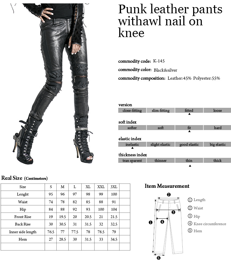 K-145 Wholesale Woman Shinny Slim Punk Leather Pants With Awl Nail On Knee
