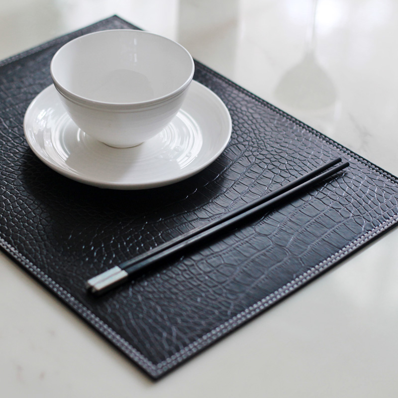 31*41cm 4PCS/LOT Crocodile Black Reversible Faux Leather Placemat Dining  Table Decoration Plate Pad Heat Insulation Pad In Mats U0026 Pads From Home U0026  Garden On ...