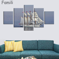 5Pcs Set No Frame Seascape Sailing Boat Blue Sea Wall Art Oil Painting On Canvas For