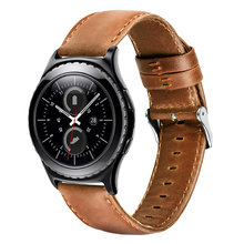 For Samsung Gear S2 S3 Leather Strap Top Layer Crazy Horse Smart Watch Belt