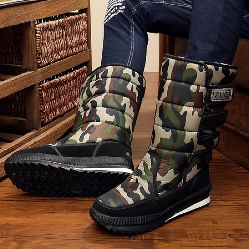 2019 Men Boots platform snow boots for men thick plush waterproof slip-resistant winter shoes Plus size 34 - 47 1