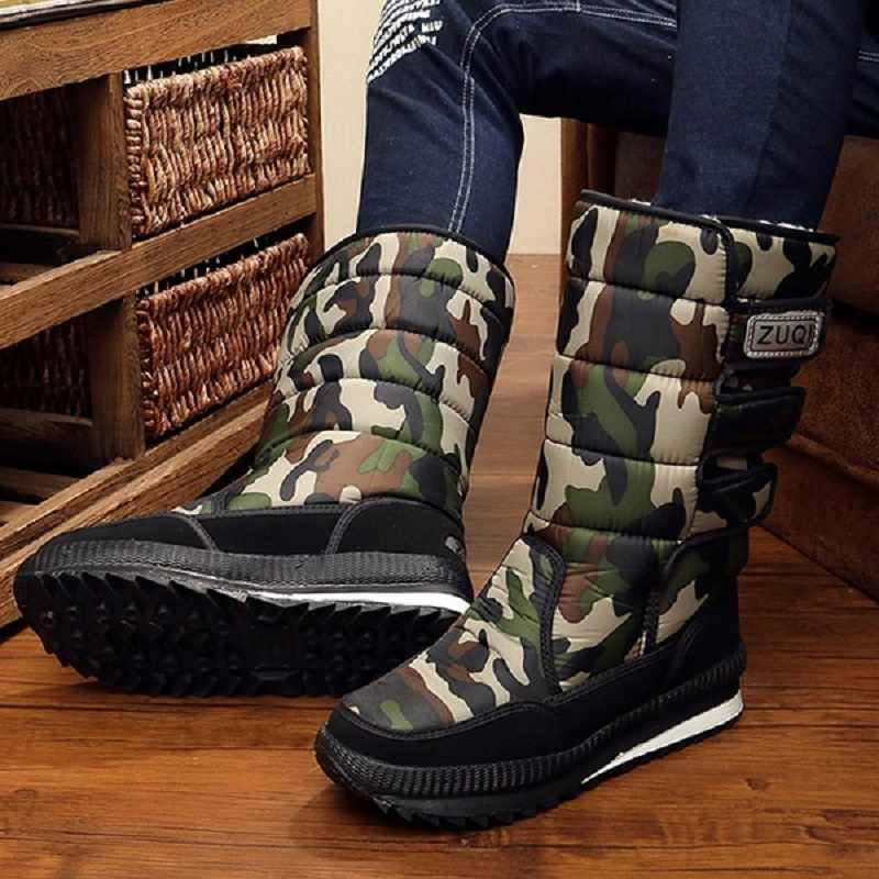 Men Boots platform winter snow boots for mens thick plush waterproof slip-resistant winter men shoes Plus 2019 new size 34 - 47