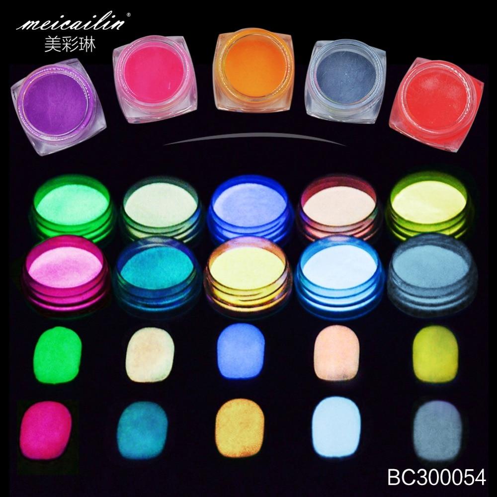 12 Color/set Nail Glitter Powder Glow In The Dark Acrylic