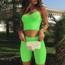 AOSSILIND Neon green spaghetti strap crop top and shorts 2 piece set outfits 2019 summer women casual bodycon two jumpsuit