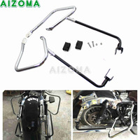 Chrome Motorcycle Rear Saddlebag Bracket Guard w/ Support Bar For 14 17 Harley Road King Electra/Street/Road Glide FLHRXS FLHX