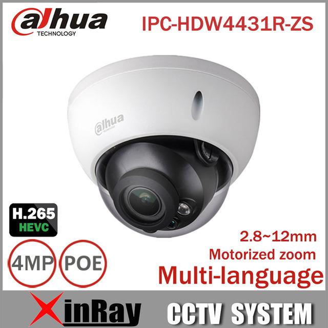 Dahua ip câmera 4mp ipc-hdbw4431r-zs 2.8mm ~ 12mm elétrica zoom ip cctv suporte para câmera poe ik10 ip67 à prova d' água ir 50 m