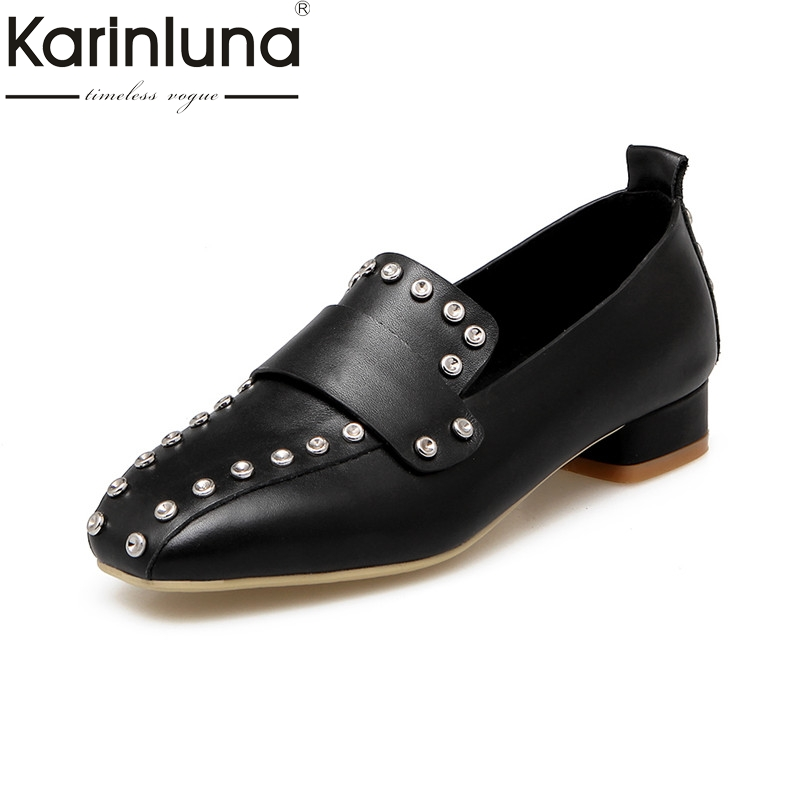 Karinluna 2018 Spring Brand Genuine Leather Pumps Plus Size 32-48 Rivet slip-on Shoes Woman Square Toe Shallow Women Date Shoe egonery spring air slip on round toe square low heels office women shoes pumps woman shoe plus size 40 43