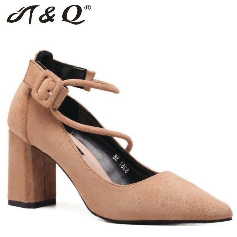 T&Q 2017 Autumn New Sexy Pumps Women Shoes Ankle Strap Pointed Toe Thick Heel Pumps Heels Women Lady Wedding Party Shoes Woman new fashion thick heels woman shoes pointed toe shallow mouth ankle strap thick heels pumps velvet mary janes shoes
