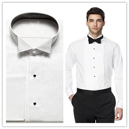 High Quality 100% cotton pure white tuxedo collar with french cuff and pleat  front mens