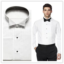2016 100% cotton pure white tuxedo collar with french cuff and pleat front mens slim fit wedding tuxedo shirt