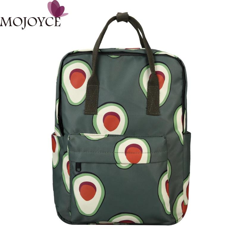Female Fashion Big Cartoon Fruit Print Women Canvas Travel Backpacks Teen Girls Large Capacity Nylon School Shoulder Bags