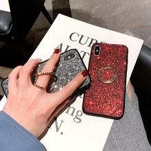 Luxury Diamond Bling Phone Case For iPhone X XR XS Max 7 8 6 6s Plus Glitter Finger Ring Holder Stand Hard Back Cover Fundas