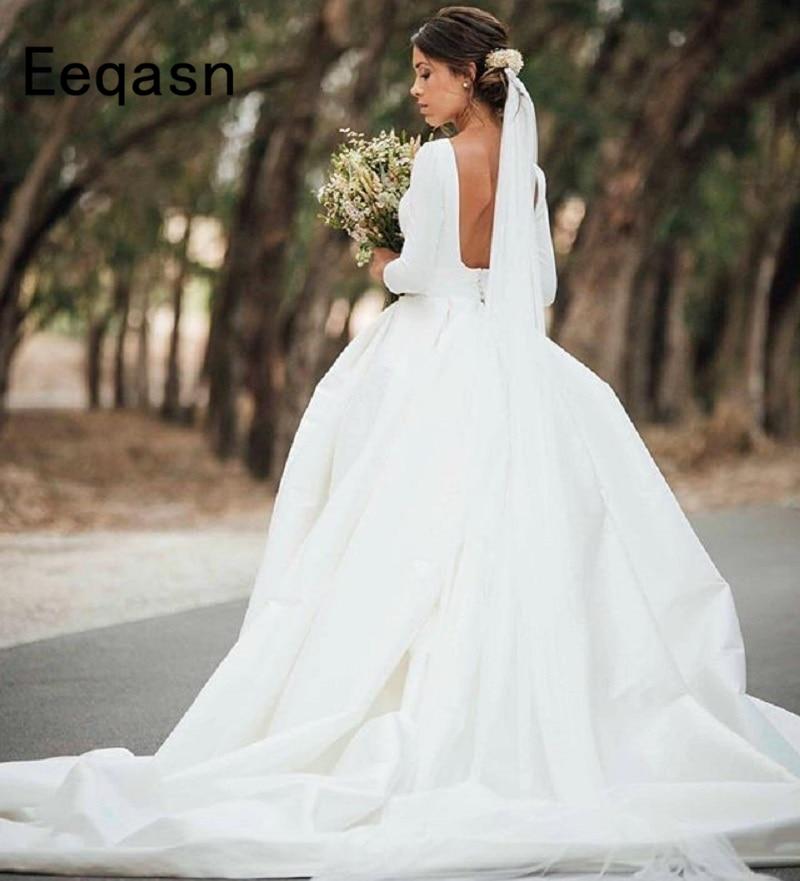 Elegant Silk Wedding Dresses With Sleeves: Elegant Long Satin Wedding Dress 2018 Sexy Back Open 3/4