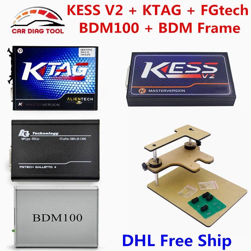 Цена за Новый V2.32 KESS V2 V4.036 OBD2 менеджер Тюнинг Комплект KTAG V2.13 K-TAG V6.070 FGTech Galletto 4 V54 BDM Рамки BDM100 ЭБУ программист