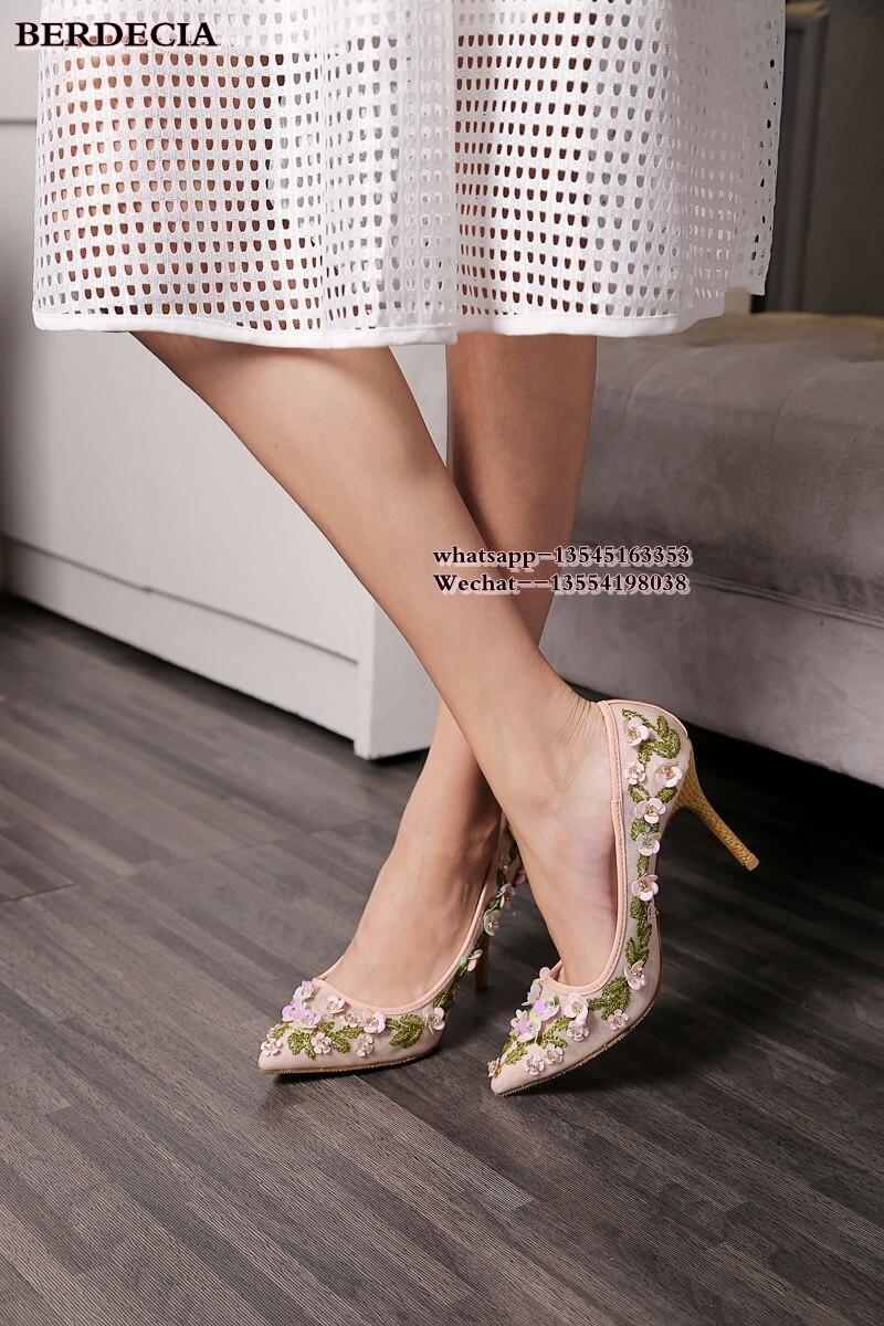 The Glissement Nouveau De Bout Femme Pompes Pointu Haute Chaussures Noce Fleurs As 2019 Vente Sur Chaude Picture Talons Mode T8qT4