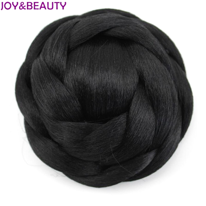 JOY&BEAUTY 12cm Heat Resistant Fiber Black/Blonde Brown 6 Colors Women Synthetic Hair Buns Clip-in Chignons