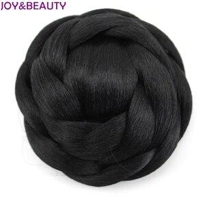 JOY&BEAUTY 12cm Heat Resistant Fiber Black/Blonde brown 6 colors Women Synthetic Hair Buns Clip-in Chignons(China)